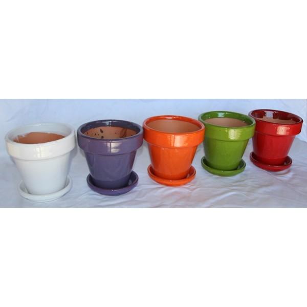 Macetas de barro de colores esmaltados desde 4 50 en - Macetas de colores ...